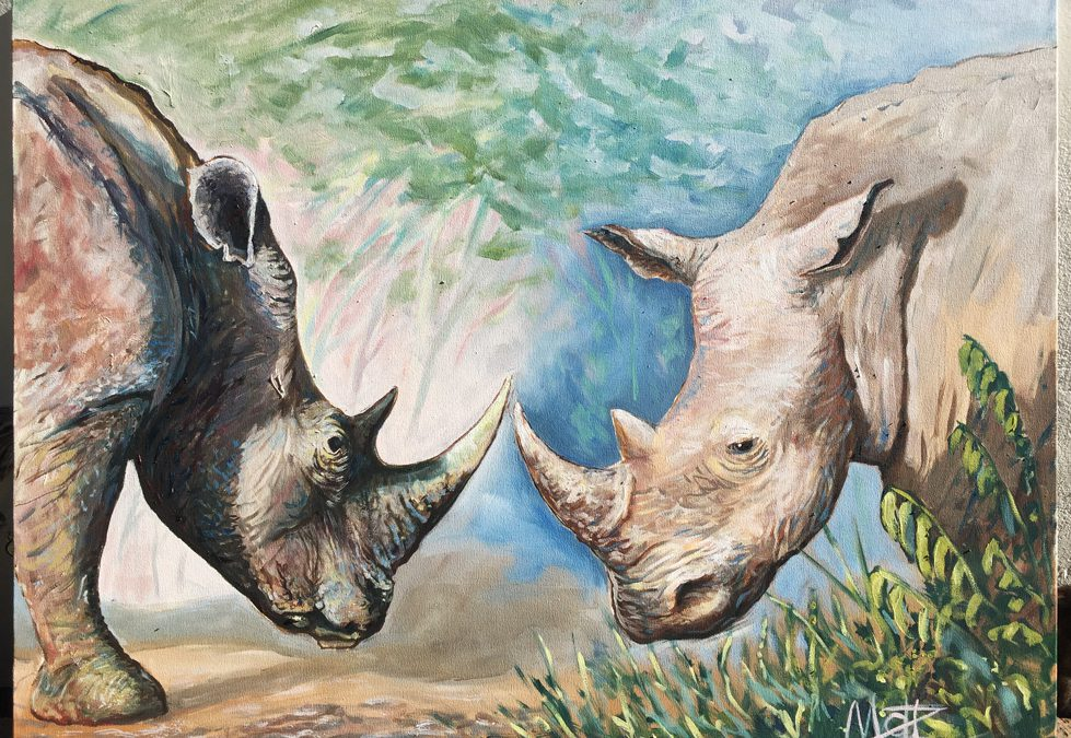 rhinos painting oil on canvas Matt Zi
